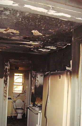 inside home with fire damage