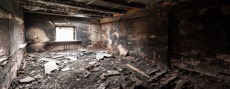 fire damage inside building